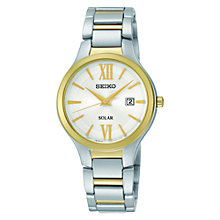 Buy Seiko SUT210P9 Women's Solar Powered Stainless Steel Bracelet Watch, Silver/Gold Online at johnlewis.com
