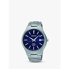 Buy Seiko SNE381P9 Men's Titanium Bracelet Watch, Blue/Grey Online at johnlewis.com