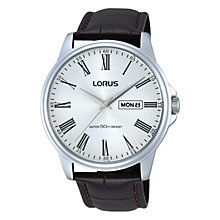 Buy Lorus RXN11DX9 Men's Stainless Steel Leather Strap Watch, Brown/Silver Online at johnlewis.com