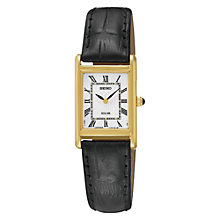 Buy Seiko SUP250P9 Women's Solar Powered Leather Strap Watch, White/Black Online at johnlewis.com