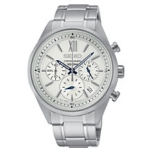 Buy Seiko SSB153P1 Men's Chronograph Stainless Steel Bracelet Watch, White/Silver Online at johnlewis.com
