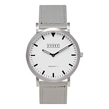 Buy SHORE Projects Poole W002S006S Silver Plated Canvas Strap Unisex Watch Online at johnlewis.com