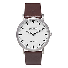 Buy SHORE Projects Poole W002S006S Silver Plated Leather Strap Unisex Watch Online at johnlewis.com