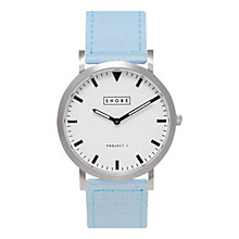 Buy Shore Projects Unisex Poole Silver Plated Canvas Strap Watch Online at johnlewis.com