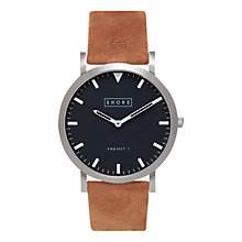 Buy SHORE Projects Whitstable W001S017S Silver Plated Leather Strap Unisex Watch Online at johnlewis.com