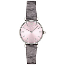 Buy Emporio Armani AR1882 Women's Gianni T-Bar Grey Lizard Strap Watch, Grey Online at johnlewis.com