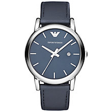 Buy Emporio Armani AR1731 Men's Renato Leather Strap Watch, Silver/Blue Online at johnlewis.com