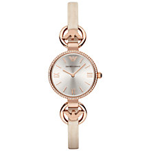 Buy Emporio Armani AR1886 Women's Gianni T-Bar Slim Leather Strap Watch, Beige/Rose Gold Online at johnlewis.com