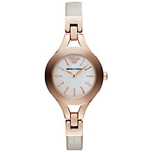 Buy Emporio Armani AR7354 Women's Chiara Leather Strap Bracelet, Cream Online at johnlewis.com