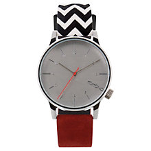 Buy Komono KOM-W2204 Unisex Winston Suede/Fabric Strap Watch, Galore Zigzag Suede Online at johnlewis.com