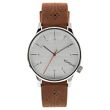 Buy Komono KOM-W2013 Unisex Winston Leather Strap Watch, Brogue Walnut Online at johnlewis.com