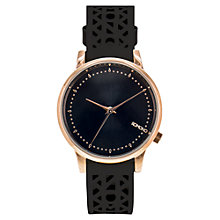 Buy Komono Women's Estelle Leather Strap Watch, Black Online at johnlewis.com