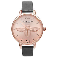 Buy Olivia Burton OB14AM58 Women's Animal Motif Leather Strap Watch, Black/Rose Gold Online at johnlewis.com