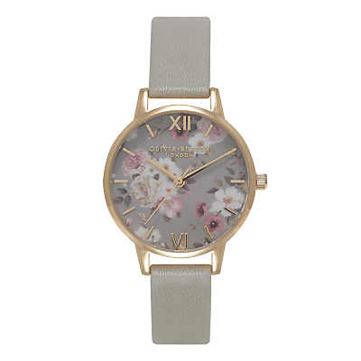 Olivia Burton OB15EG12B Women's Stainless Steel Enchanted Garden Leather Strap Watch, Grey
