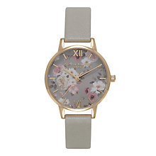 Buy Olivia Burton OB15EG12B Women's Enchanted Garden Leather Strap Watch, Grey Online at johnlewis.com