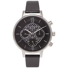 Buy Olivia Burton OB15CG55 Women's Chronograph Detail Leather Strap Watch, Black Online at johnlewis.com