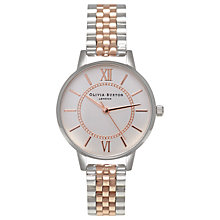 Buy Olivia Burton OB15WD40 Women's Stainless Steel Silver Rose Gold Bracelet Strap Watch, Silver Online at johnlewis.com