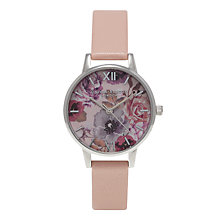 Buy Olivia Burton Women's Stainless Steel Enchanted Garden Rose Leather Strap Watch Online at johnlewis.com