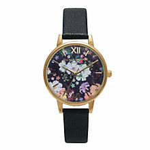 Buy Olivia Burton OB15FS55 Women's Stainless Steel Flower Show Leather Strap Watch, Black/Multi Online at johnlewis.com