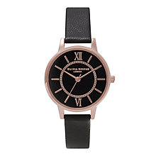 Buy Olivia Burton OB15WD32 Women's Stainless Steel Black Leather Strap Wonderland Watch, Black Online at johnlewis.com