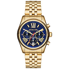 Buy Michael Kors MK6206 Women's Lexington Stainless Steel Bracelet Strap Watch, Gold/Navy Online at johnlewis.com
