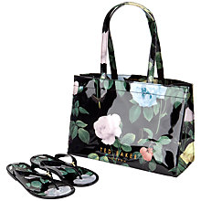 Buy Ted Baker Vickay Distinguishing Rose Flip-flop and Shopper Set, Black Online at johnlewis.com