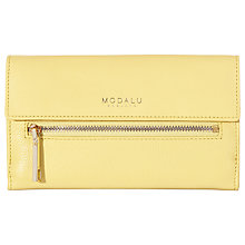 Buy Modalu Erin Leather Flapover Purse, Camomile Yellow Online at johnlewis.com