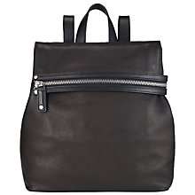 Buy Kin by John Lewis Bergliot Zip Leather Backpack, Black Online at johnlewis.com