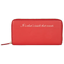 Buy John Lewis Hayley 'It's What's Inside That Counts' Leather Slogan Zip Around Purse, Red Online at johnlewis.com