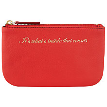 Buy COLLECTION by John Lewis Hayley 'It's What's Inside That Counts' Slogan Leather Coin Purse, Red Online at johnlewis.com