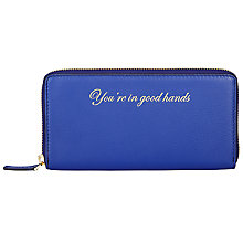 Buy COLLECTION by John Lewis Hayley 'You're In Good Hands' Leather Slogan Zip Around Purse, Blue Online at johnlewis.com
