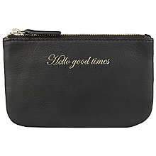 Buy John Lewis Hayley 'Hello Good Times' Slogan Leather Coin Purse, Black Online at johnlewis.com