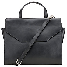 Buy Kin by John Lewis Triple Pocket Leather Grab Bag, Black Online at johnlewis.com