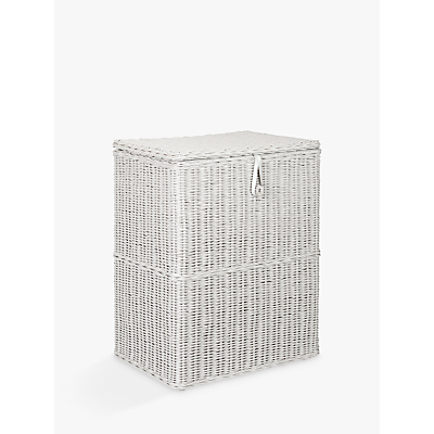 John Lewis Croft Collection Double Linen Basket, Grey