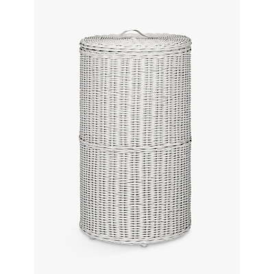 John Lewis Croft Collection Rattan Round Laundry Bin, Grey