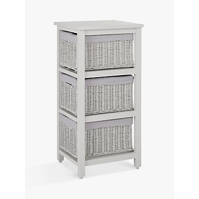 John Lewis Croft Collection Rattan 3-Drawer Unit, Grey