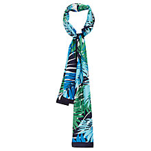 Buy Viyella Silk Fern Print Scarf, Blue Online at johnlewis.com