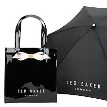 Buy Ted Baker Nellie Bow Icon Shopper Bag And Umbrella Set, Black Online at johnlewis.com
