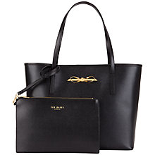 Buy Ted Baker Isabow Crosshatch Leather Bow Shopper Bag Online at johnlewis.com