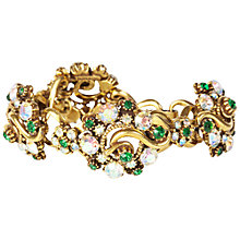 Buy Susan Caplan Vintage 1950s Florenza Brilliant Crystal Bracelet, Gold/Green Online at johnlewis.com