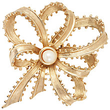 Buy Susan Caplan Vintage 1960s Trifari Faux Pearl Bow Brooch, Gold Online at johnlewis.com