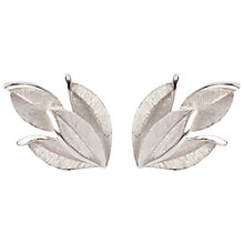 Buy Susan Caplan Vintage 1960s Vintage Trifari Textured Leaf Earrings, Silver Online at johnlewis.com