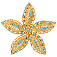 Buy Susan Caplan Vintage 1960s Vintage Sarah Coventry Flower Brooch,Turquoise/Gold Online at johnlewis.com