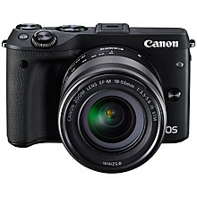 "Buy Canon EOS M3 Camera with EF-M 18-55mm IS STEM Lens, HD 1080p, 24.2MP, Wi-Fi, NFC, 3"" LCD Screen with FREE 32GB Memory Card Online at johnlewis.com"