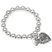 Buy Adele Marie Bead Fancy Heart Bracelet, Silver Online at johnlewis.com