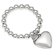 Buy Adele Marie Bead Large Heart Stretch Bracelet, Silver Online at johnlewis.com