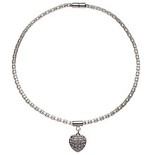 Buy John Lewis Paved Heart Pendant, Silver Online at johnlewis.com