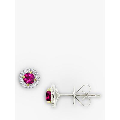 EWA 18ct White Gold Diamond Ruby Claw Set Cluster Stud Earrings, Ruby