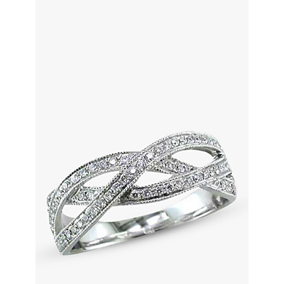 EWA 18ct White Gold Diamond Set Weave Ring, White, N