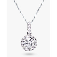 Buy EWA 18ct White Gold Diamond Claw Set Cluster Pendant With Diamond Loop, White Online at johnlewis.com